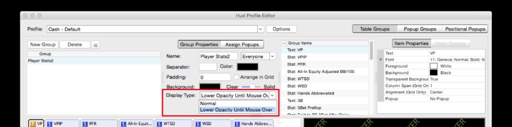 HUDをマウスオーバーで表示